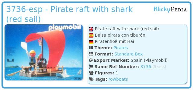 Playmobil 3736-esp - pirate raft with shark (red sail)