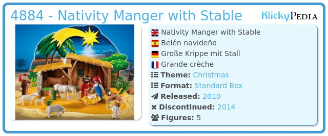 playmobil set 4884 nativity manger with stable klickypedia. Black Bedroom Furniture Sets. Home Design Ideas