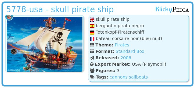 Playmobil set 5778 usa skull pirate ship klickypedia - Playmobil bateau corsaire ...