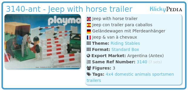 Playmobil 3140-ant - Jeep with horse trailer