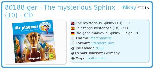 Playmobil 80188 - The mysterious Sphinx (10) - CD