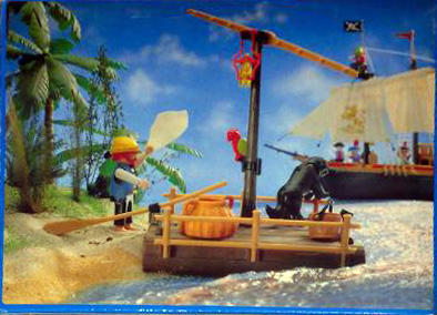 Playmobil 3793 - pirate / raft (white sail) - Back