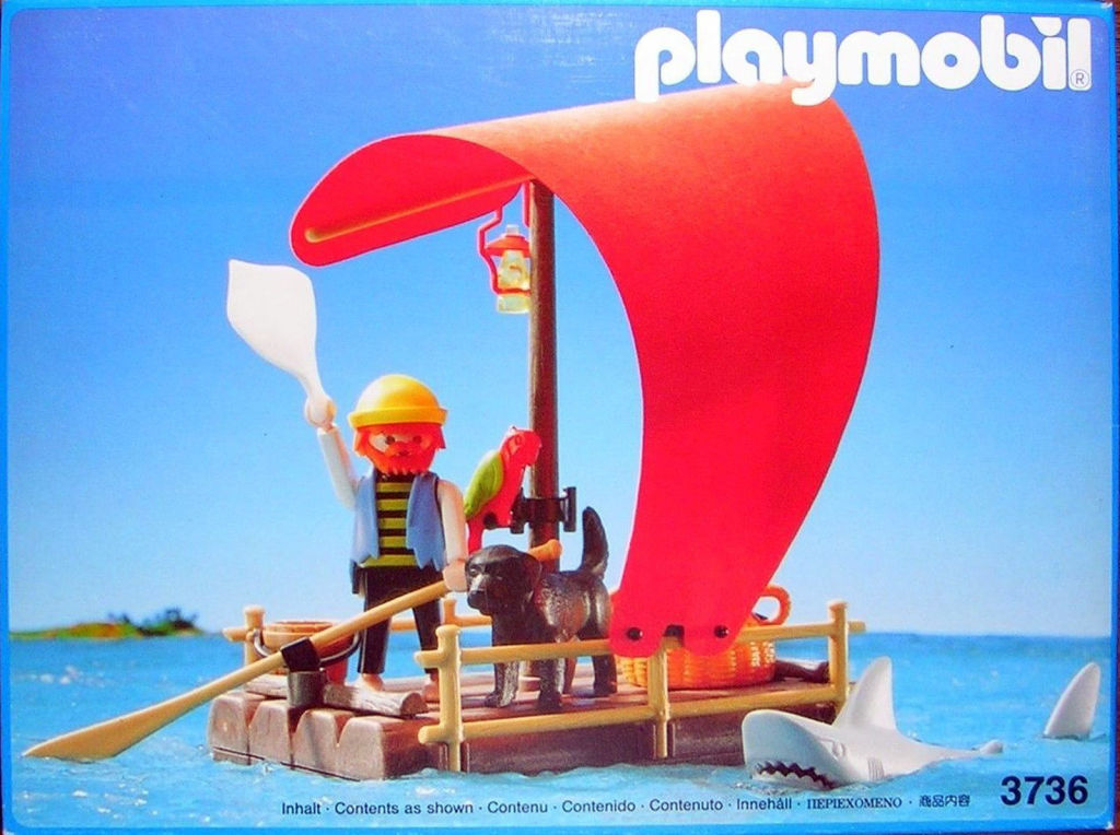 Playmobil 3736 - pirate raft with shark (red sail) - Box