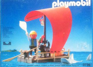 Playmobil - 3736-esp - pirate raft with shark (red sail)