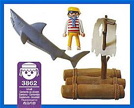 Playmobil 3862 - castaway with shark - Back