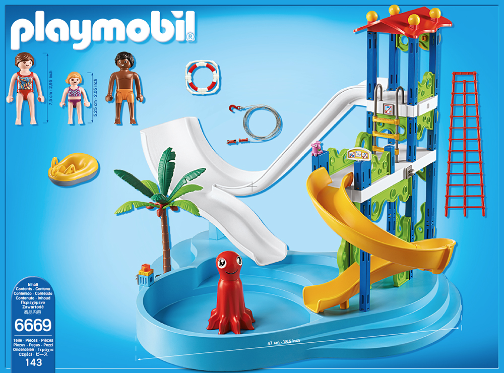 Playmobil set 6669 water park with slide tower for Playmobil piscine