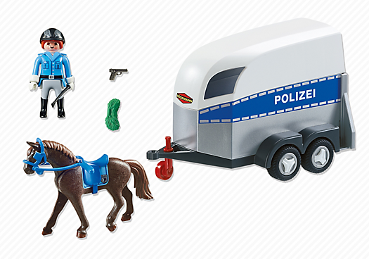 Playmobil set 6875 mounted police with trailer for Playmobil pferde set
