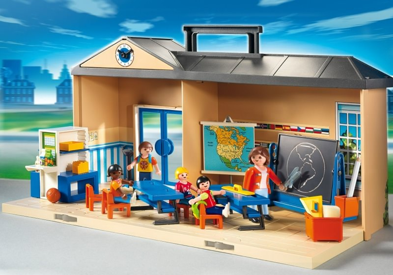 Playmobil set 5941 usa take along school klickypedia for Salle a manger playmobil city life