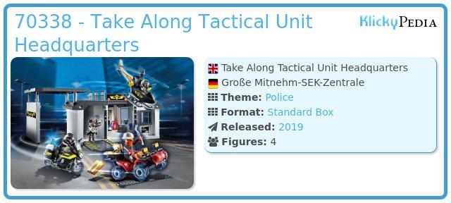 Playmobil 70338 - Take Along Tactical Unit Headquarters