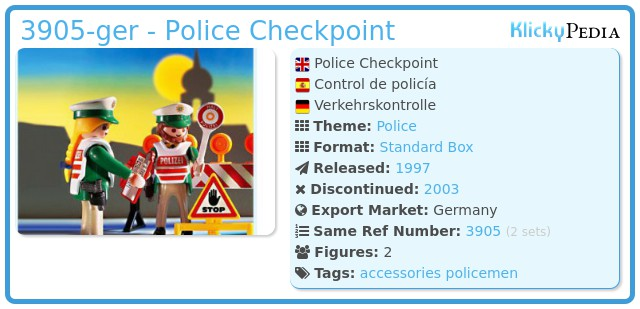 Playmobil 3905-ger - Police Checkpoint