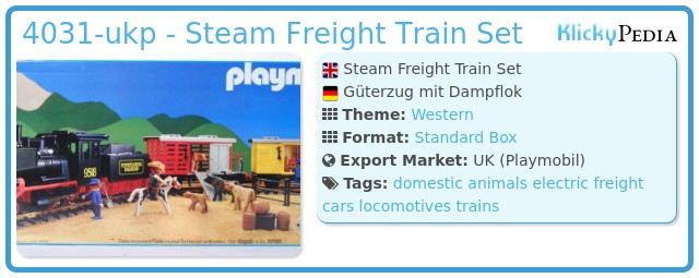 Playmobil 4031-ukp - Steam Freight Train Set