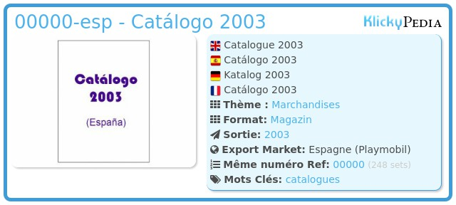 Playmobil 00000-esp - Catálogo 2003