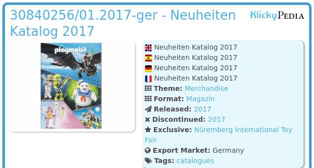 Playmobil 30840256/01.2017-ger - Neuheiten Katalog 2017
