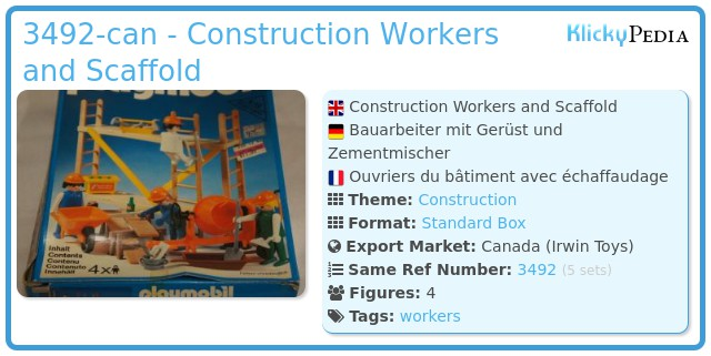 Playmobil 3492-can - Construction Workers and Scaffold