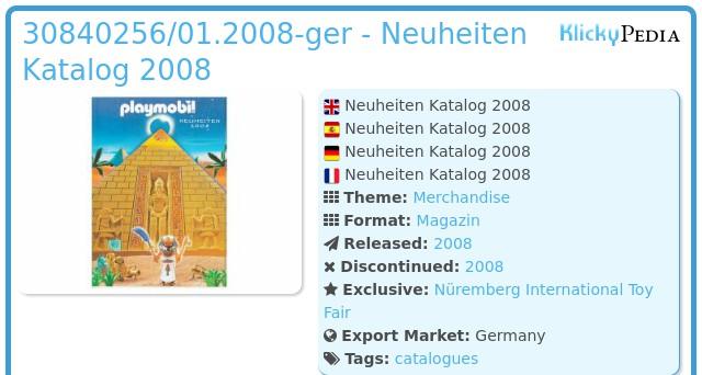 Playmobil 30840256/01.2008-ger - Neuheiten Katalog 2008