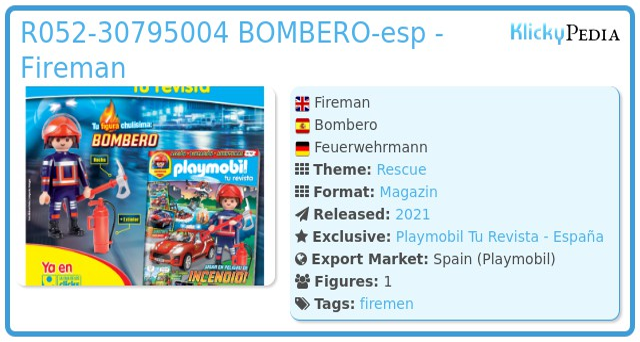 Playmobil R052-30795004 BOMBERO-esp - FIREMAN