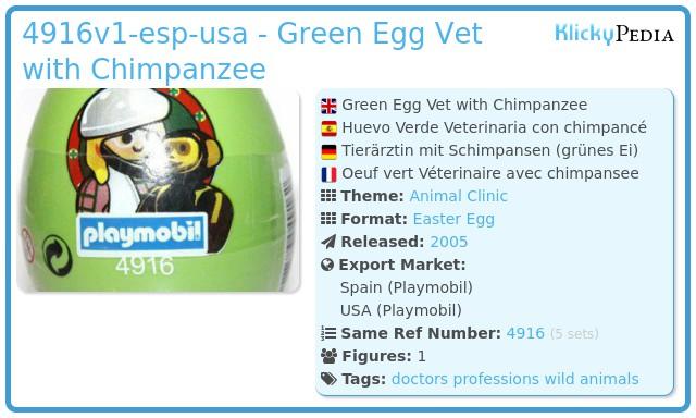 Playmobil 4916v1-esp-usa - Green Egg Vet with Chimpanzee