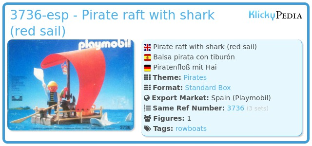 Playmobil 3736-esp - pirate raft with shark (red sail)
