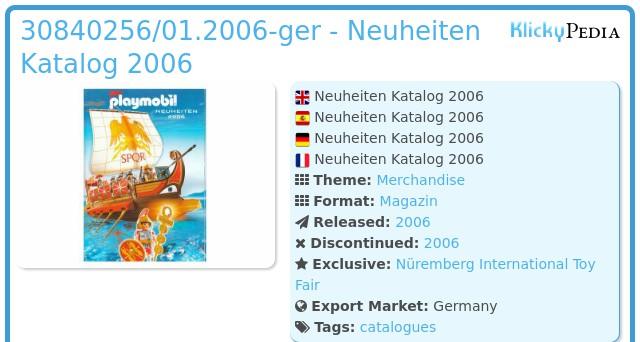 Playmobil 30840256/01.2006-ger - Neuheiten Katalog 2006