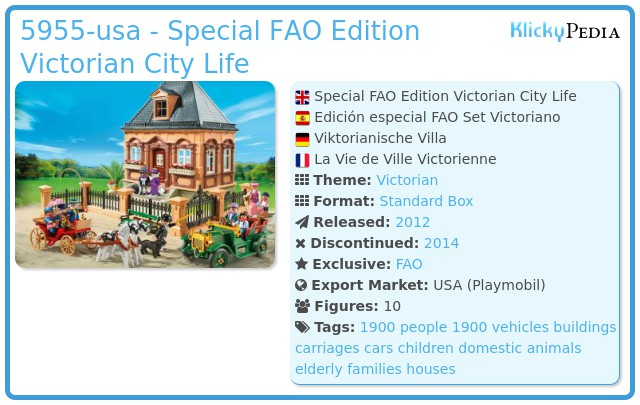 Playmobil 5955-usa - Special FAO Edition Victorian City Life