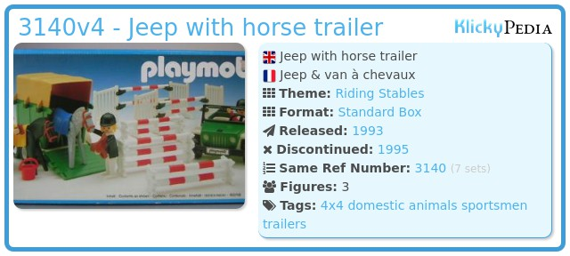 Playmobil 3140v4 - Jeep with horse trailer