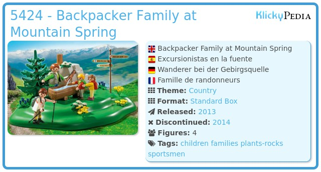 Playmobil 5424 - Backpacker Family at Mountain Spring