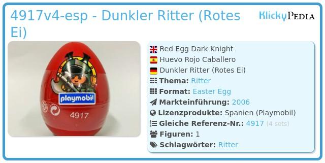 Playmobil 4917v4-esp - Dunkler Ritter (Rotes Ei)
