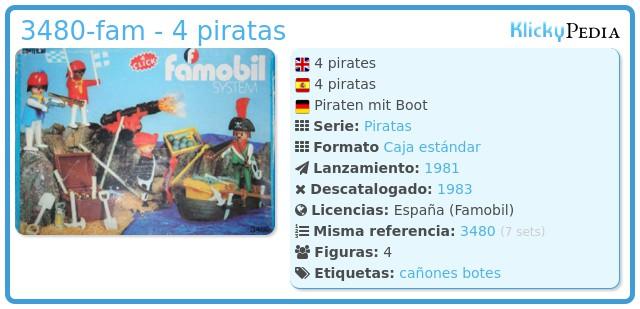 Playmobil 3480-fam - 4 piratas