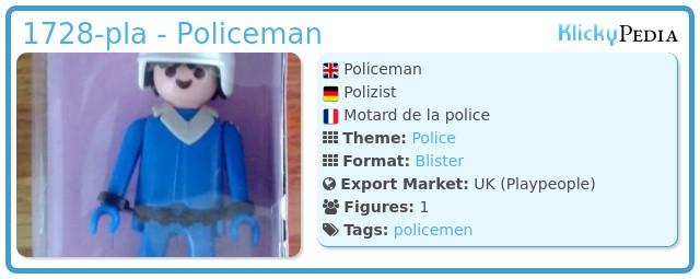 Playmobil 1728-pla - Policeman