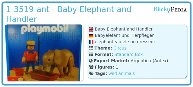 Playmobil 1-3519-ant - Baby Elephant and Handler