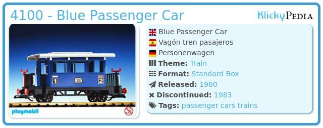 Playmobil 4100 - Blue Passenger Car