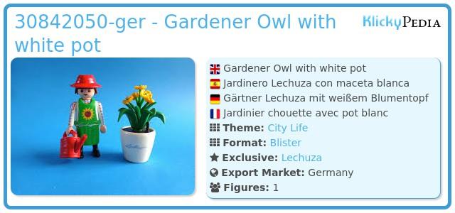 Playmobil 30842050-ger - Gardener Owl with white pot