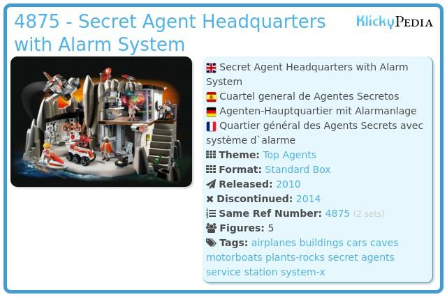 Playmobil 4875 - Secret Agent Headquarters with Alarm System