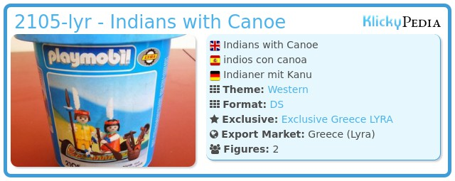 Playmobil 2105-lyr - Indians with Canoe
