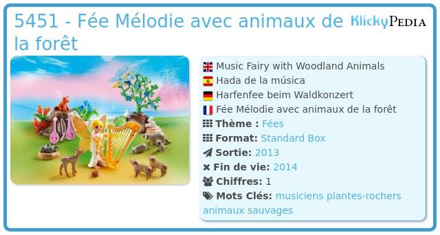Playmobil 5451 - Fée Mélodie avec animaux de la forêt