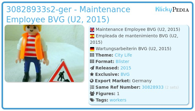 Playmobil 30828933-ger - Maintenance Employee BVG (U2, 2015)