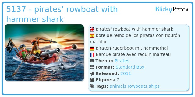 Playmobil 5137 - pirates' rowboat with hammer shark