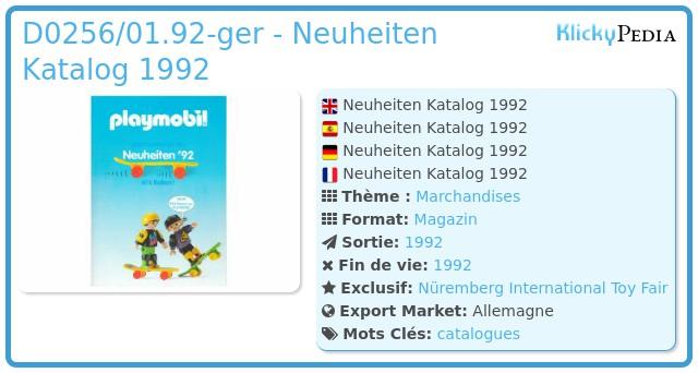 Playmobil D0256/01.92-ger - Neuheiten Katalog 1992