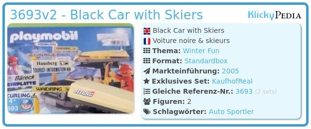 Playmobil 3693v2 - Black Car with Skiers