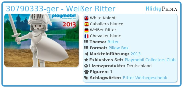 Playmobil 30790333-ger - Weißer Ritter