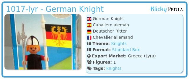 Playmobil 1017-lyr - German Knight