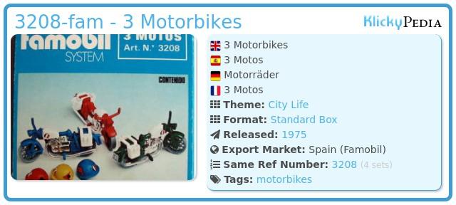 Playmobil 3208-fam - 3 Motorbikes