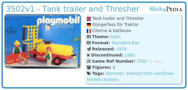 Playmobil 3502v1 - Tank trailer and Thresher