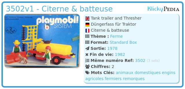 Playmobil 3502v1 - Citerne & batteuse