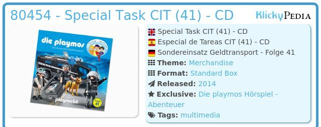 Playmobil 80454 - Special Task CIT (41) - CD