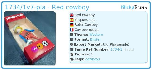 Playmobil 1734/1v5-pla - Red cowboy