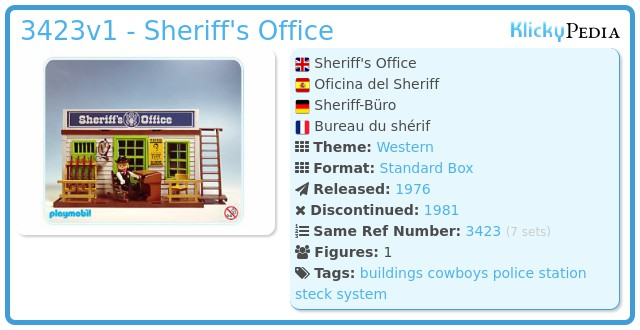 Playmobil 3423v1 - Sheriff's Office
