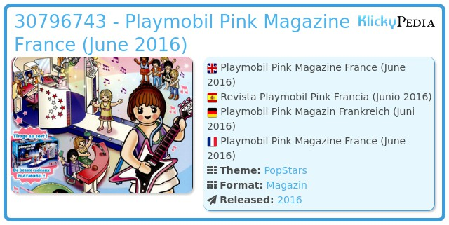 Playmobil 30796743 - Playmobil Pink Magazine France (June 2016)