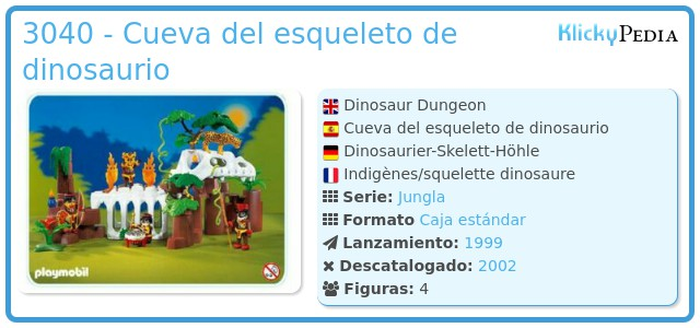 Playmobil 3040 - Cueva del esqueleto de dinosaurio
