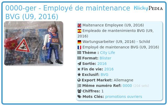 Playmobil 0000-ger - Employé de maintenance BVG (U9, 2016)
